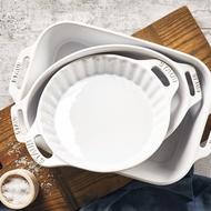 Staub 白色陶瓷餐具 雙把長方型烤盤/圓派盤/沙拉碗