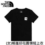 [ THE NORTH FACE ] 女 帳篷印花圓領短上衣 黑 / NF0A4UBMJK3