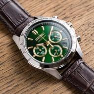 【SEIKO 精工】世界第一日本精工 宇宙軌跡三眼皮革腕錶/綠x深棕(SBTR017_M)