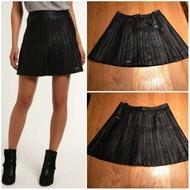 極度乾燥 Superdry 跩狗嚴選 Skirt 黑色 真皮 皮衣 皮裙 百摺裙 短裙