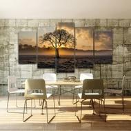 壁畫噴繪油畫五聯日落樹