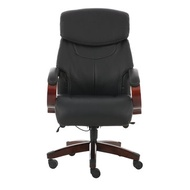 Ergonomic Office Chair High Back PU Leather Executive Swivel Chair Folding Chair with Wood Arms