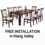 Q 10 Solid Wood 1+8 Dining Set / Solid Wood 8 Seater Dining Table Set / Solid Wood Dining Table With 8 Chairs / Solid Wood Dining Set / Set Meja Makan Untuk 8 Orang (Kayu Getah Asli) (TWH)