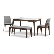 Celine Marble Top Dining Table + 4 Dining Chairs (FREE DELIVERY)(FREE ASSEMBLY)