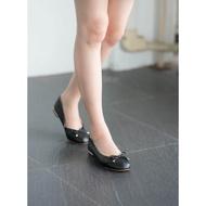 Luna flat (Black) รองเท้าคัชชู รองเท้าบัลเลต์ หนัง สีดำ