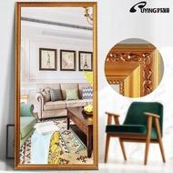 長鏡子全身臥室省空間穿衣鏡實木歐式落地鏡家用服裝店加寬試衣鏡