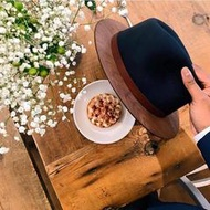 【聖誕專區】THE TWO GUYS BOW TIE Black Fedora w / Walnut Brim 手工木製紳士帽