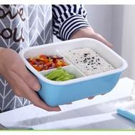 【傑品生活】(三格扣蓋)馬卡龍色釉陶瓷便當盒850ml 陶瓷保鮮盒 陶瓷餐盒 陶瓷飯盒 陶瓷分格 陶瓷分隔 便當盒