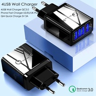 ECLE Charger Adaptor Fast Charging 3A QC 3.0 - Enable Multiport 4 USB Adaptor
