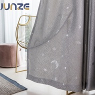 JUNZE ม่าน หน้าต่าง ราคาถูก กันแสง UV 70-80% ดาว ผ้าม่าน ผ้าม่านสำเร็จรูป 1 pcs