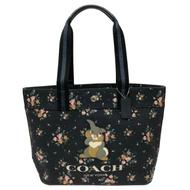 COACH X DISNEY限量聯名桑普兔帆布大托特包(花卉/深藍)