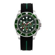 Valentino Coupeau 范倫鐵諾 古柏 陶瓷三眼水鬼腕錶(銀色/綠面/橡帶)