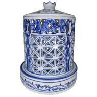 【KC】仿明朝瓷器-雕鏤青龍藍櫺蓋盅淨香爐(PH-027)