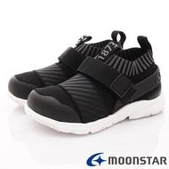 ★日本月星Moonstar機能童鞋HI系列寬楦忍者襪套鞋款22286黑(中小童段)