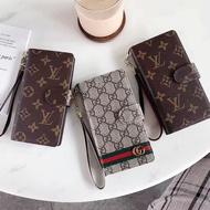 任意型號 通用款歐美大牌OPPO蘋果11手機皮套LV老花古馳通用型手机全系列推拉手機皮套 掛繩