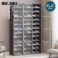 【Mr.Box】36格12門1掛 防塵組合鞋櫃盒 深32cm(黑+霧款)