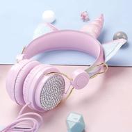 卡通貓耳耳機獨角獸頭戴式兒童耳機定制動物毛絨游戲音樂耳機