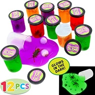 12 Halloween Jelly Putty Clear Slime |58 oz Total| with Plastic Bugs – Fake Cockroaches, Worms, Spiders Eyeballs, Spider Rings for Halloween Goody Bag Filler, Party Favor Supply Decoration. Non-Toxic.