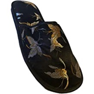 Womens Black Satin Oriental Style Slippers Butterfly Scufs House Shoes S(5-6)