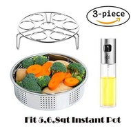 XGYUE instant pot accessories ,Steamer Basket Rack Set Accessories, Fits Instant Pots & Pressure Cookers 5, 6, 8 qt with Olive Oil Sprayer Bottle for Cooking