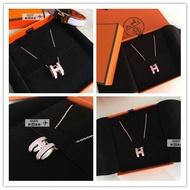 ㊣Hermes pop H 愛馬仕橢圓 H logo項鍊 粉紅+ 玫瑰金 全新正品1001