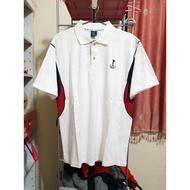 男 JRGS 高棉質 短袖 運動上衣服 鈕扣子 高爾夫球衣 POLO衫 立領子 吸濕排汗 LOGO圖案 純白色 ➯ XL