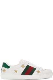GUCCI白色 New Ace 蜜蜂 & 星星运动鞋
