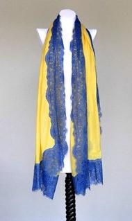 絲顏精品~Vintage Shades 黃藍四邊蕾絲 圍巾 披肩