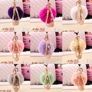【ANGEL】韓版可愛獺兔毛球珍珠包包吊飾鑰匙扣(9色可選)