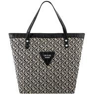 GUESS 黑色LOGO織紋托特包-大型