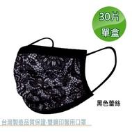 【文賀】醫用口罩 未滅菌-三層醫療口罩-時尚系列-黑色蕾絲 30入/盒(雙鋼印口罩)