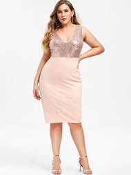 Y217 Urban Outfits Sequined Combo Plus Size Party Dress