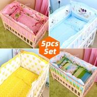 5PCS Newborn Baby Bedding Set For Girl Boy Baby Crib Bedding Set Baby Crib Bumper Kids Crib Set Baby