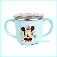 asdfkitty可愛家☆迪士尼米奇有蓋雙耳防燙304不鏽鋼杯/學習杯/馬克杯-握把與底部都有防滑-不含雙酚A-韓國製