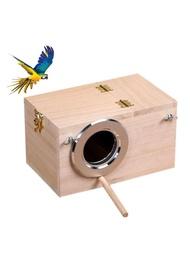 กล่องนกทำจากไม้สำหรับการเพาะพันธุ์แก้วรังนกบ้านประตูสำหรับนกแก้วค็อกเทลกรงนกแก้ว
