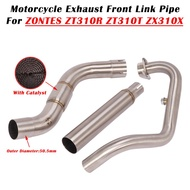 For ZONTES ZT310R ZT310T ZT310X Motorcycle Exhaust Escape Modified System Muffler Front Middle Link Pipe 51mm Connection Tube