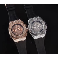 限定 AUDEMARS PIGUET 愛彼 AP 手錶 全功能 石英錶 橡膠錶帶 鑲鑽錶盤 男士腕錶 42mm