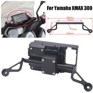 สีดำสำหรับ Yamaha XMAX 300 XMAX300 X MAX 300 รถจักรยานยนต์ด้านหน้าโทรศัพท์ขาตั้งผู้ถือโทรศัพท์สมาร์ทโฟน GPS Navigaton แ...