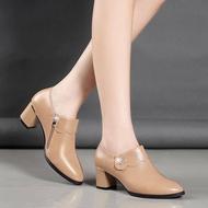ZAZA คัชชูผู้หญิงดำ เกาหลีรองเท้าสุภาพสตรีรองเท้าที่มีสายคล้องข้อเท้ารองเท้าสีดำสำหรับผู้หญิงรองเท้าสวมใส่ในสำนักงานระบายอากาศและป้องกันการลื่นSoft Soleรองเท้า2021ใหม่