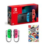 任天堂Switch 藍紅主機+ Joy-Con 左右手把(粉綠)+超級瑪利歐派對