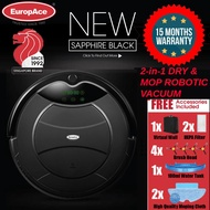 *NEW LAUNCH* EuropAce Robotic Vacuum Cleaner (Wet and Dry) SAPPHIRE BLACK 1200PA -15 MONTHS WARRANTY