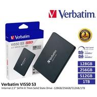 256GB / 512GB / 1TB  Verbatim Vi550 2.5  SATA III SSD Drive - Verbatim 256GB / 512GB / 1TB SSD Drive