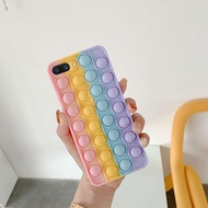 Phone Case For OPPO A3s A12e Realme C1 Soft Silicone with Rainbow Capa Push It Relieve Stress Fidget Toy Pop Bubble casing