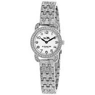 Coach新款限量紐約璀璨之星滿版晶鑽流星雨腕錶~銀色錶帶x白色錶盤-手錶【曠時巨作】