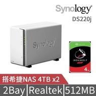 【希捷 4TB】2入組 NAS硬碟(ST4000VN008)+【Synology】DS220j  網路儲存伺服器