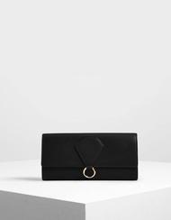 【直飛現貨 正品保證】小CK 拉環掀蓋長夾(黑色)錢包 CK6-10780933 皮夾 皮包