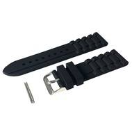 24mm Men's Black Silicone Rubber Watch Straps Bands Waterproof for Fossil Watch Replacement