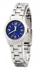 Casio นาฬิกาข้อมือผู้หญิง สายสแตนเลส รุ่น LTP-1215A-2A - สีเงิน/น้ำเงิน