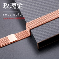 Applicable iwatch4 strap applewatch6/5/4/3/2 generation Apple watch strap se Milanese 44mm42 stainless steel sports men and women 38mm40iphone series s4 Strong magnetic, waterproof and sweatproof fashion/leisure/business style