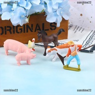 【SUN22】DIY Farmland Worker Pig Horse Cow Duck Animal Model Miniature Decoratio